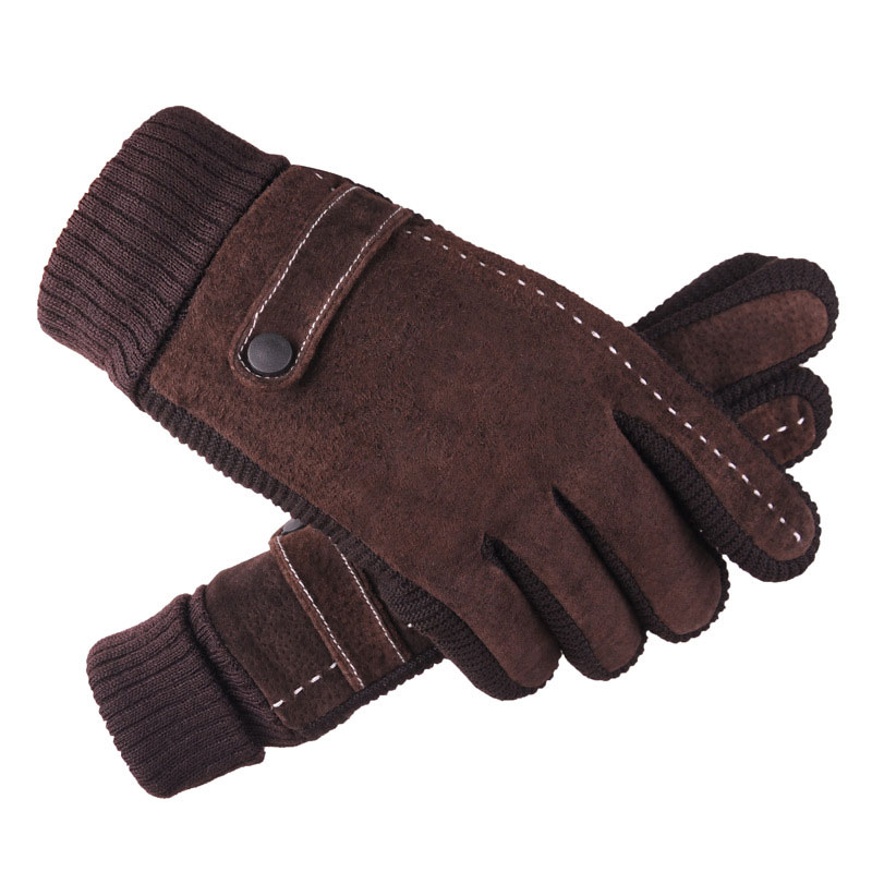 Pigskin Gloves Men Riding Bicycles Driving Warm Gloves Winter Outdoor Sports Running Climbing Windproof Warm Gloves