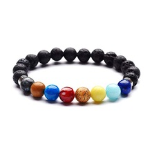 Fashion Planet 7 Chakra Bracelets Diffuser Bangles for Women Yoga Natural Volcanic Stone