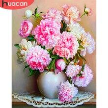 HUACAN – images de fleurs numérotées, peinture de décoration de maison, fleur de pivoine, toile peinte à la main