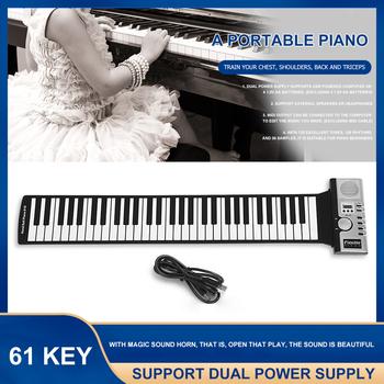 Ręczne rozwijane pianino przenośne składane elektroniczne organki instrumenty klawiszowe 61 klucz dla miłośnicy muzyki akcesoria do gier tanie i dobre opinie Hand Roll Up Piano Silicon plastic Black White 61 key standard piano key 128 international standard 128 international standard rhythm