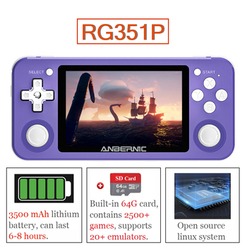 RG351P Handheld Game Console with 64G Card Retro Game Player 2500+ Games 3.5-in IPS Screen Video Game Console Open Source System open source digital library movement in india