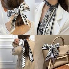 Длинные волосы банты шарф платок бант волосы аксессуары принт сумка шарфы для женщин бандана шарф мода шейный платок повязки на голову