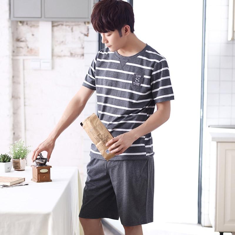 2019 Summer Casual Striped Cotton Pajama Sets For Men Short Sleeve Sleepwear Male Pyjama Homme Homewear Lounge Wear Home Clothes