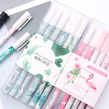 6 Pcs/lot Green Plants Flamingo Sakura Gel Pen Cute 0.5mm Black Ink Signature Pen Kawai School Writing Supplies Promotional Gift(China)