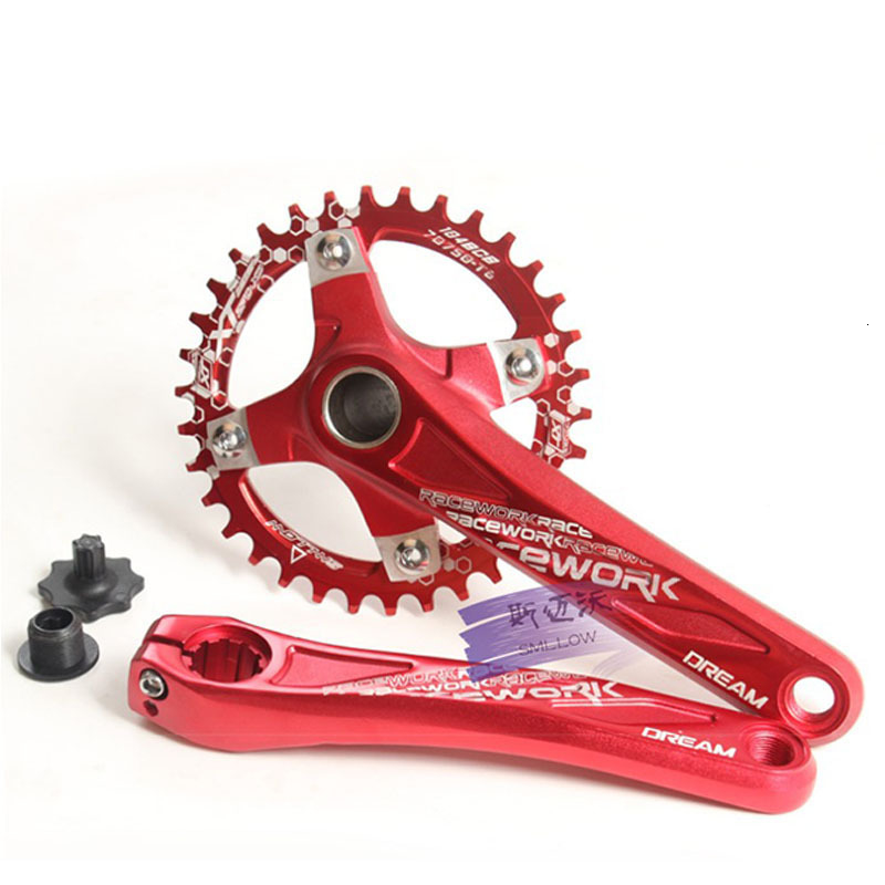 Photo from the front 104BCD bike crankset of aluminium alloy. Bicycling crank set with bottom aluminium alloy
