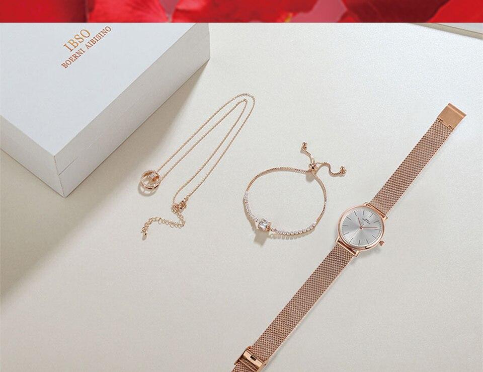 Ensemble bijoux Femme montre cristal Design Bracelet collier 17