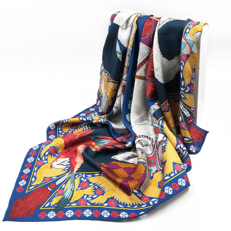 CAVME Square Silk Scarf Pashmina Scarves for Ladies Women's Silk Shawls Printing Elegant Gift for Mother Handmade 140*140cm image