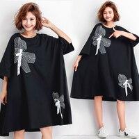 2019 Summer Women Plus Size Dress Cotton Black Female Vestidos Casual Fashion Big Size Appliques Dress Loose Fit 5XL 6XL