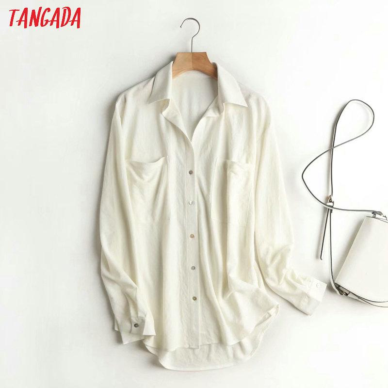 Tangada frauen solide viskose shirts langarm solide übergroßen elegante büro damen arbeiten tragen blusen 4C18