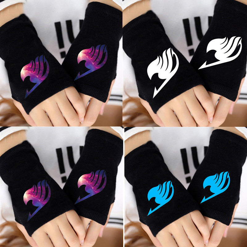 Anime Gloves Fairy Tail Warm Winter Gloves Man Fingerless Steampunk Cartoon Knitted Gloves Cosplay Costume Accessories Black Hot