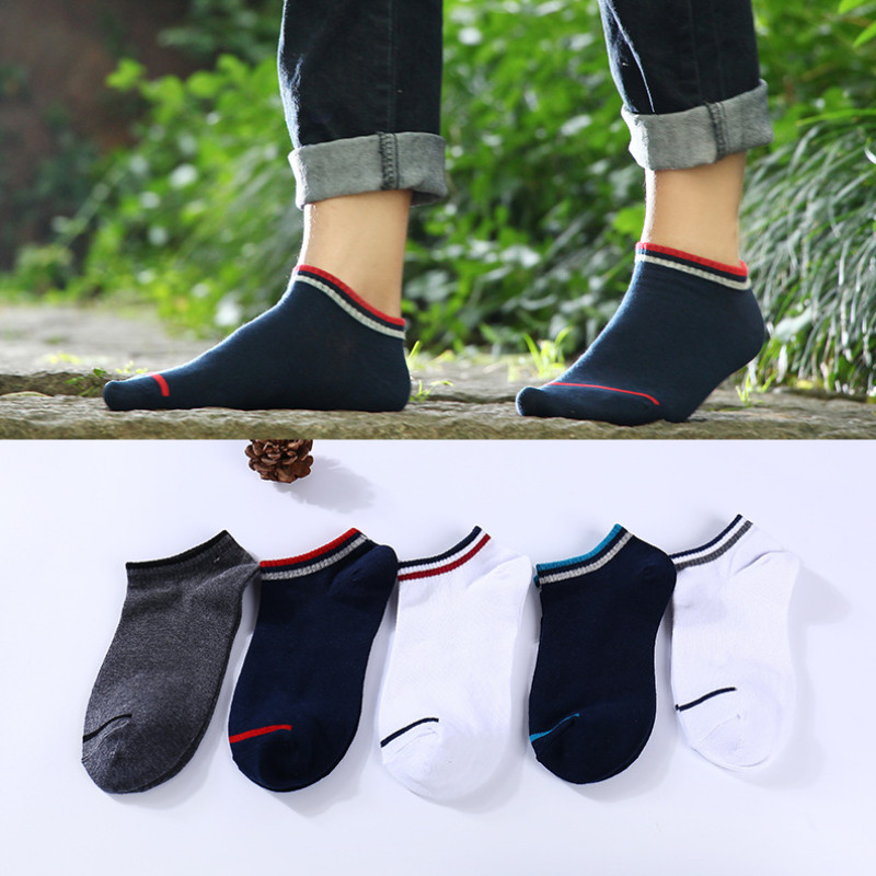 5 Pairs Men's Happy Socks Cotton Stripes Summer Mens Casual  Dress Cool Socks Female Street Style Pure Color 05