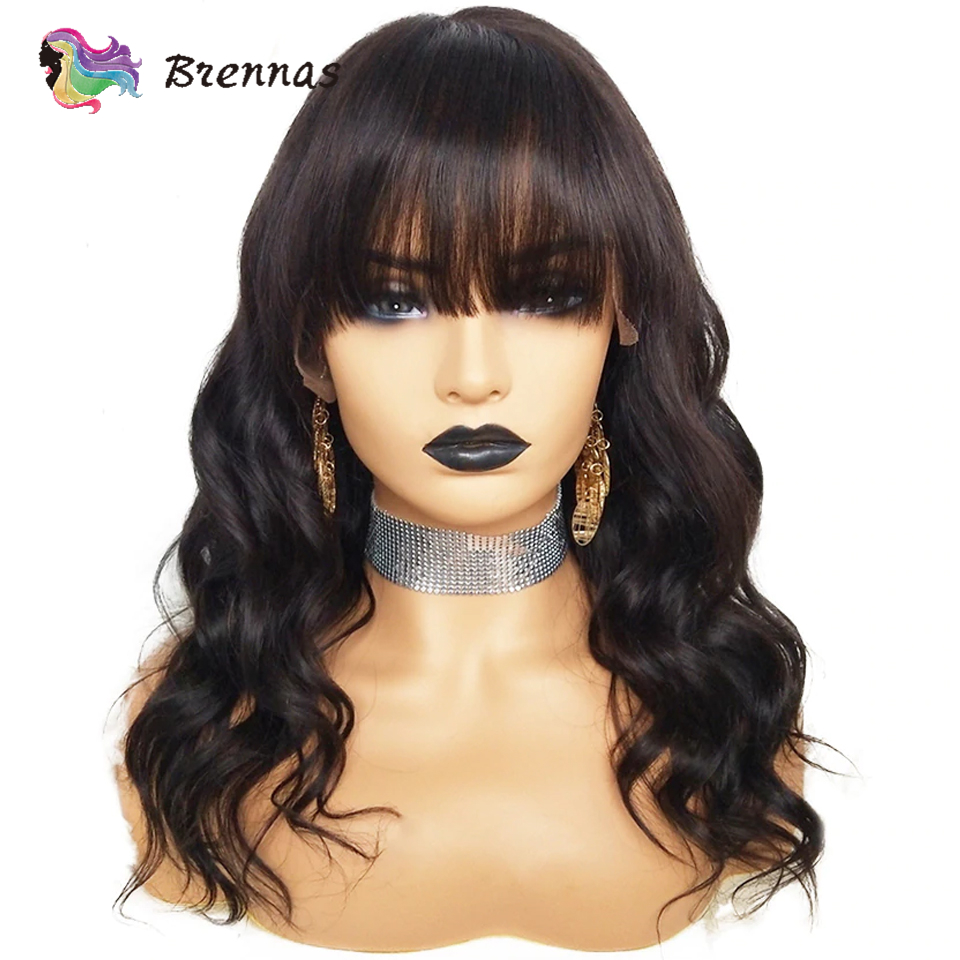 Brennas Lace Frontal Wig With Bangs Body Wave Lace Front Human Hair Wigs Brazilian Remy Hair Pre Plucked Natural Color For Women