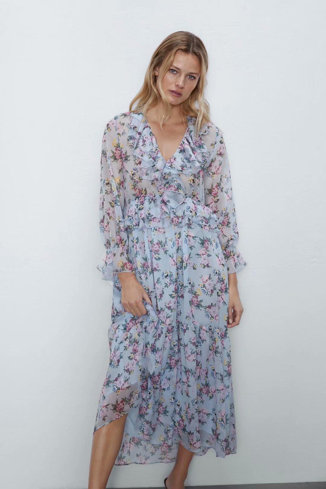 2020 New Spring Summer New Style European Floral Printed Dress Zaraing Vadiming Sheining Women Female Dress