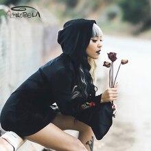 Imily Bela Gothic Rose Embroidery Hooded Mini Dress Autumn Long Sleeve Black Bodycon Falre Sexy Casual Vestido