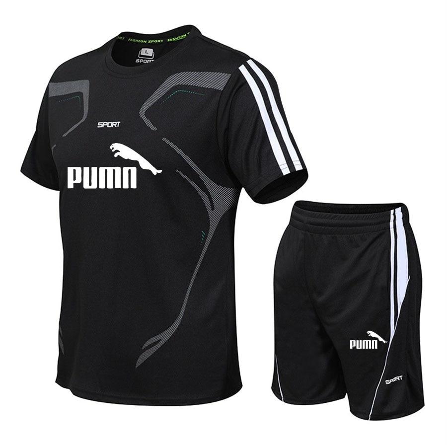 Brand men's sportswear suit short-sleeved sports shirt male running 2 piece suit football gym fitness man T-shirt + shorts set 3
