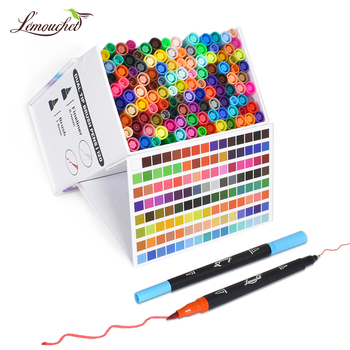 24/48/72/100/120 Colors Dual Tip Brush Marker Pens Fineliner Watercolor Art Markers Calligraphy Lettering Drawing Art Supplies