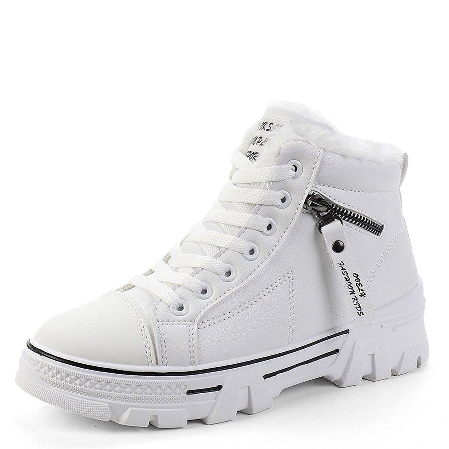 Women Sneakers Shoes 2019 PU Leather Fashion Women Casual Shoes Flats Platform Warm Plush Women Shoes Breathable Winter Shoes
