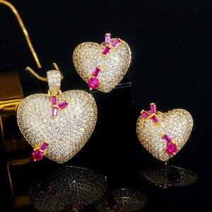 Image 5 - Pera en kaliteli mikro açacağı CZ 585 altın romantik aşk kalp şekli küpe kolye takı setleri bayanlar için yıldönümü hediyesi J302