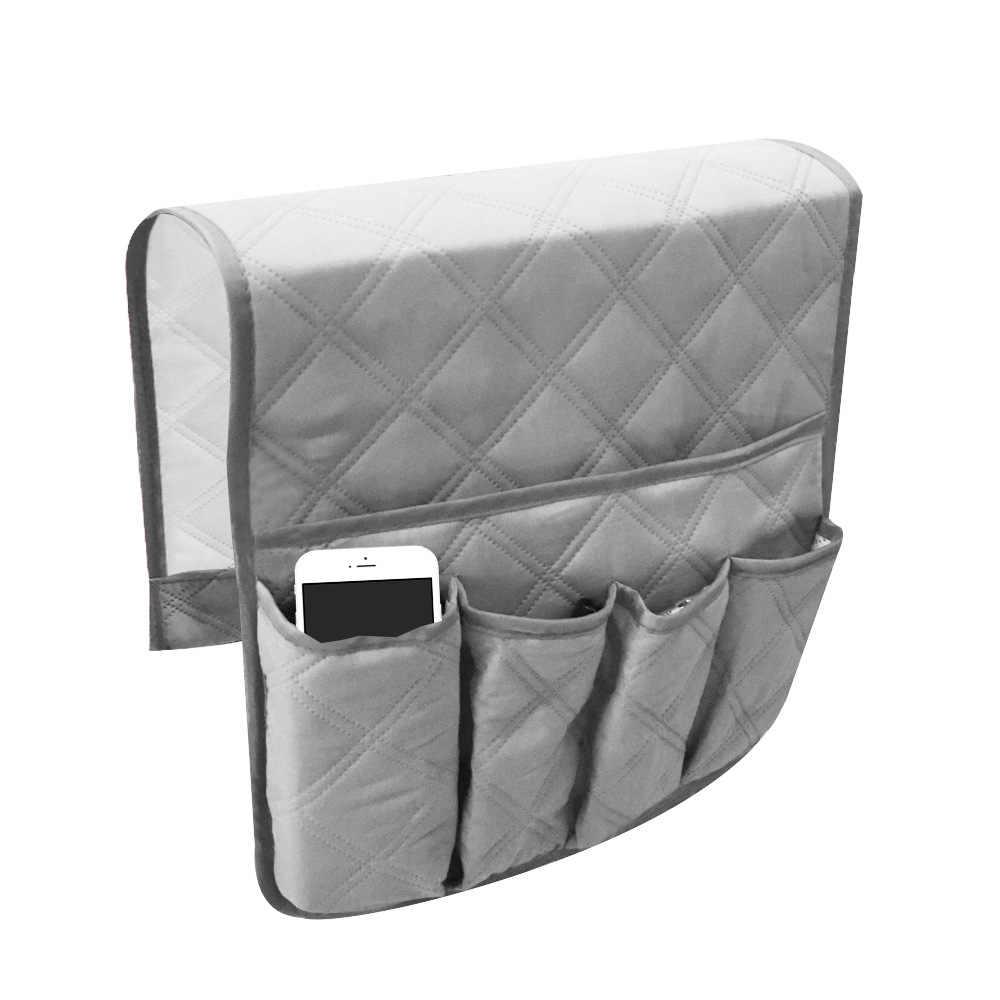 AKlamater Sof/á Reposabrazos Organizador Bolsa de almacenamiento colgante Bolsa de tela de fibra de poli/éster resistente al agua Soporte de control antideslizante con 5 bolsillos