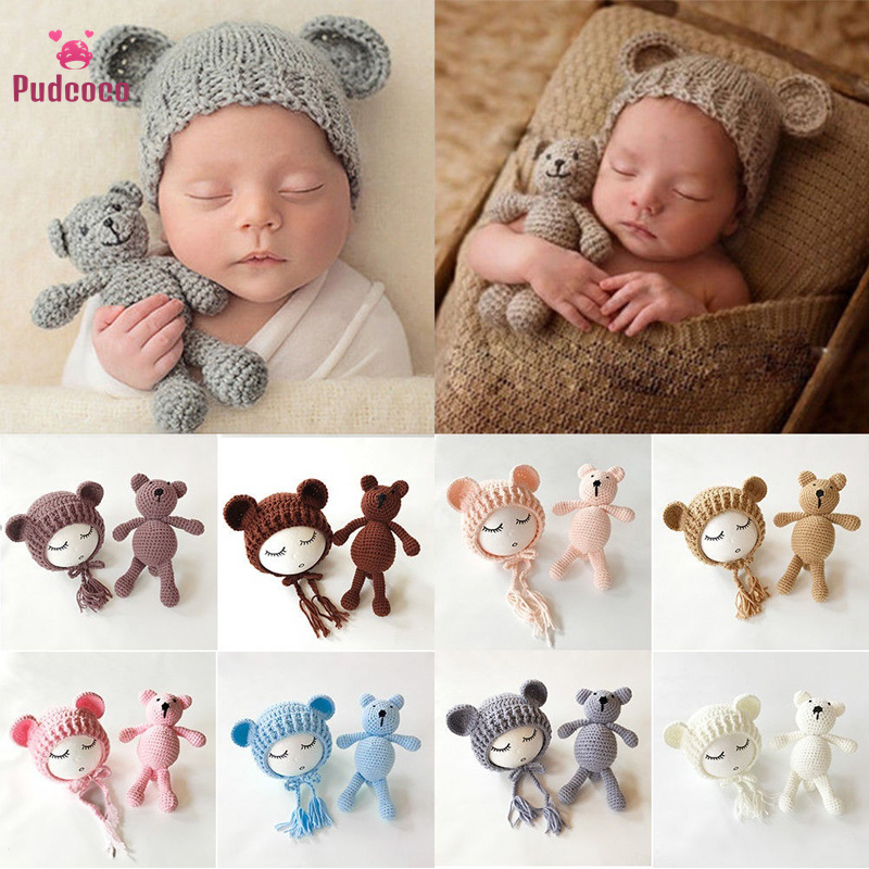 US Newborn Baby Girls Boys Photography Prop Cute Crochet Knit Bear Hat Set#