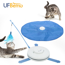 2 in 1 Cat Toy Undercover Fabric Moving Mouse Feather mascotas Pet Crazy Toy Cat Teaser Automatic interactive Toy jouet chat