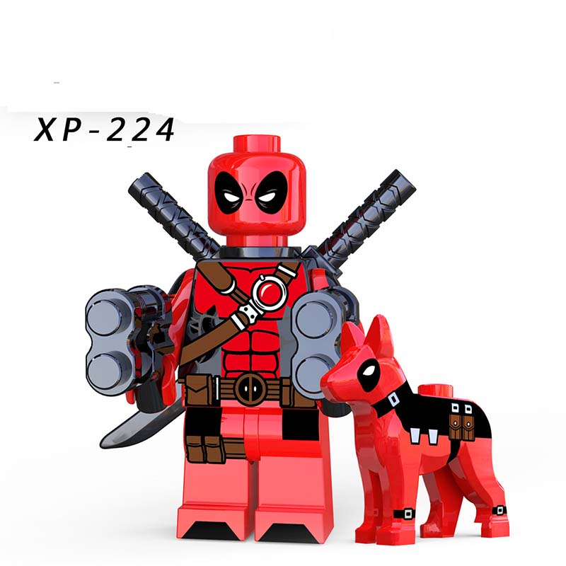 Single Sale Deadpool With Dog Avengers Super Heroes DC Gwenpool Domino MiniFigured Blocks Bricks Action Children Gifts XP224