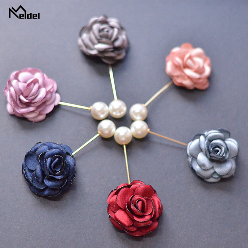Meldel Women Brooch Corsages Wedding Pearl Groom Boutonniere Buttonhole Flowers Marriage Accessories Corsage Planner Supplies
