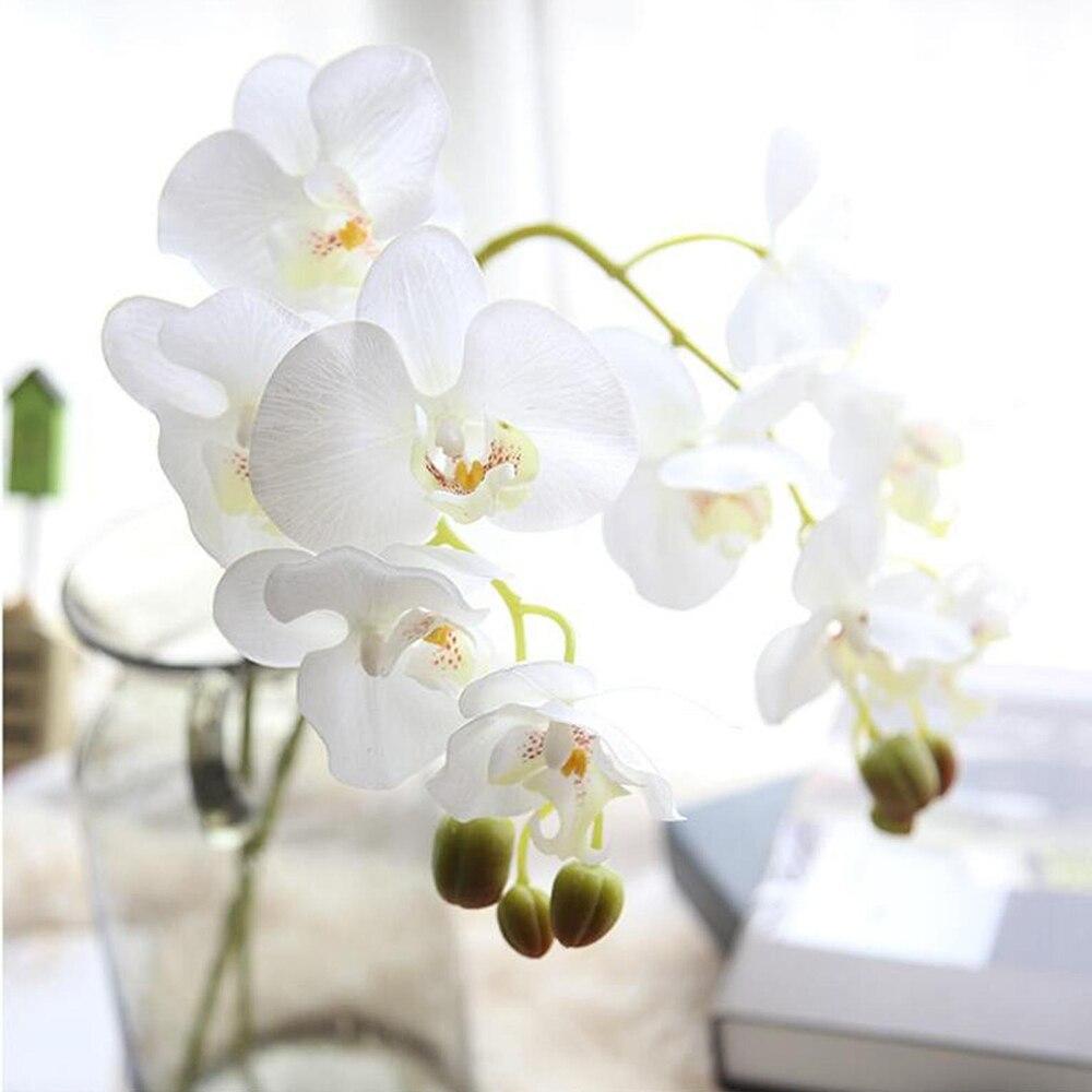 Орхидея белая шелковая цветок фаленопсиса, искусственные орхидеи, 8 стеблей, цветы для свадебного декора