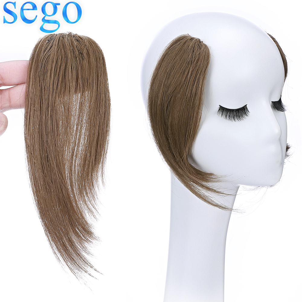 Sego 100% Human Hair Clip on Bangs With Mid Part One/Two sides Bangs Remy Hair In Extenssion French Invisible 2PCS Fringe