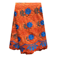 Royal blue orange african lace fabric with stones 5 yards aso ebi lace fabric 2019 african net lace fabric for sewing dresses