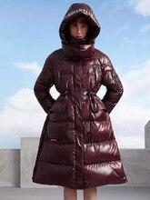 Original Design Koreanischen Winter Frauen Elegante Dünne Dicke Warme Lange Mit Kapuze Glänzend Weiße Ente Unten Mantel Beiläufige Lose Unten Jacke
