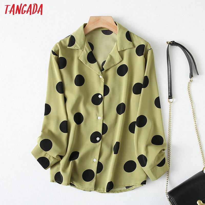 Tangada Women Green Dot Print Oversized Shirts Long Sleeve Elegant Office Ladies Work Wear Blouses YU72