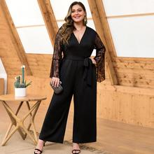 Slim Fit Women Jumpsuit Sexy V Neck Lace Stitching Flared Sleeves High Waist Wide Leg Plus Size Jumpsuit Ropa Mujer 2020 New E black round neck flared sleeves blouse
