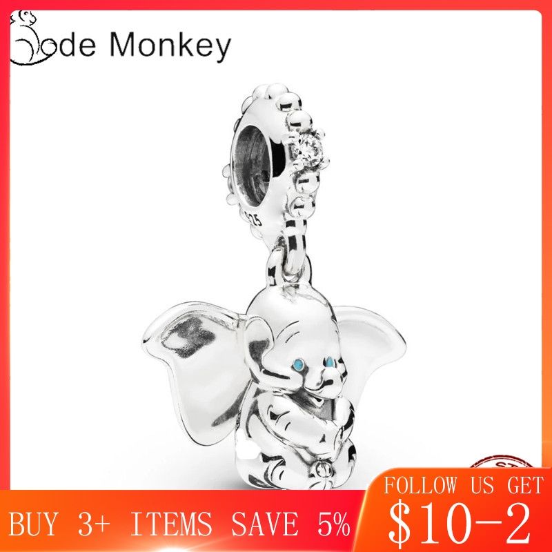 CodeMonkey Hot Sale 100% Sterling Silver Dumbo Charms Beads Fit Original Bracelet Dangle DIY Jewelry Making CMS1513