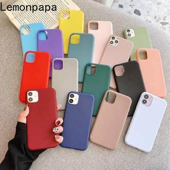 Candy Colors Silicone Luxury Phone Case for Apple IPhone 11 12 Pro Max 7 8 6 6S Plus XR X XS MAX 5 5S SE Shockproof Case Cover image