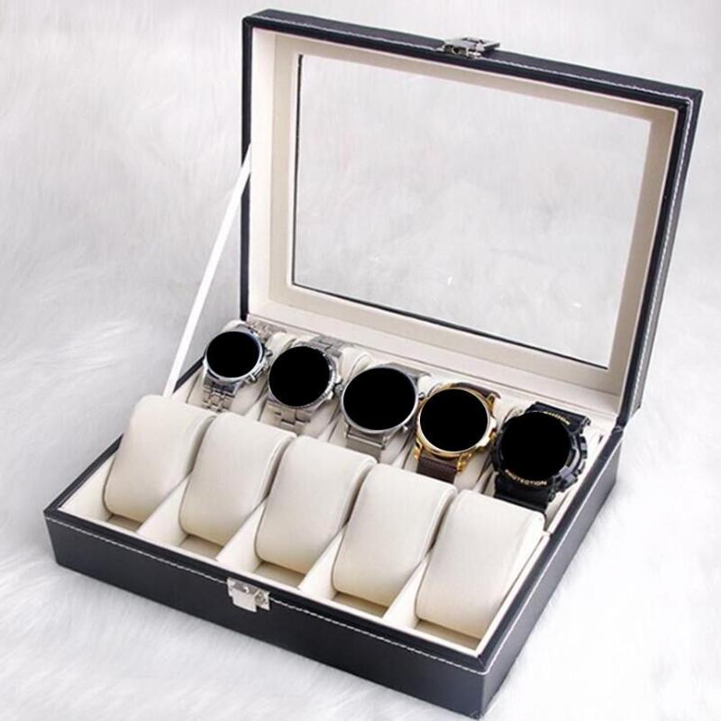 10 Slot PU Leather Watch Box Case Professional Holder Organizer For Clock Watches Jewelry Box Jewelry Bracelet Display Organizer