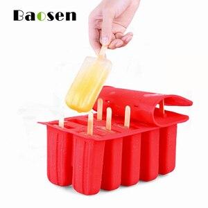10 балок Baosen, силиконовая форма для Фруктового мороженого на палочке, Экологичная, многоразовая, сделай сам, для приготовления мороженого, йо...