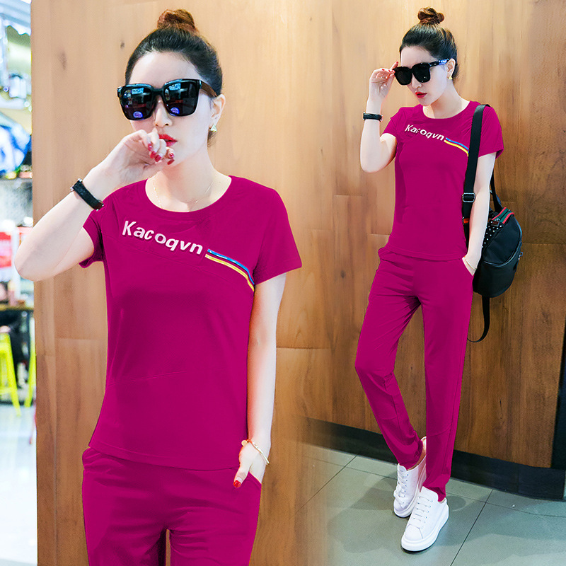 Casual WOMEN'S Suit Summer 2019 New Style Fashion Large Size Loose-Fit Summer Wear Short Sleeve Korean-style Sports Clothing