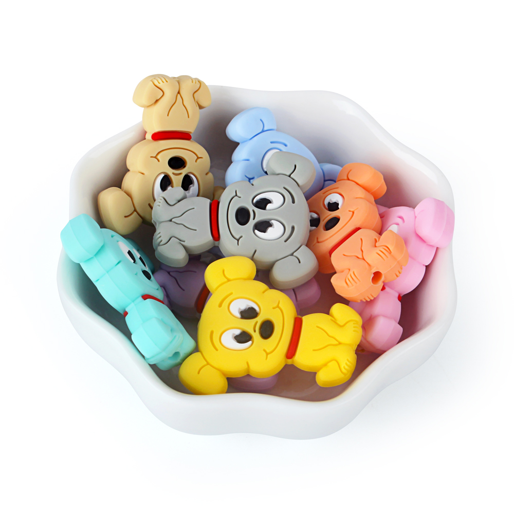 Keep&Grow 10pcs Mini Cartoon Dog Silicone Beads Food Grade Rodents Baby Teethers Bead DIY Teething Necklace Pendant Baby Product