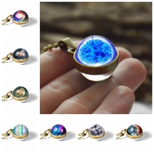 2019 New Fashion Universe Galaxy Planet Double Sided Glass Ball Pendant Necklace Jewelry