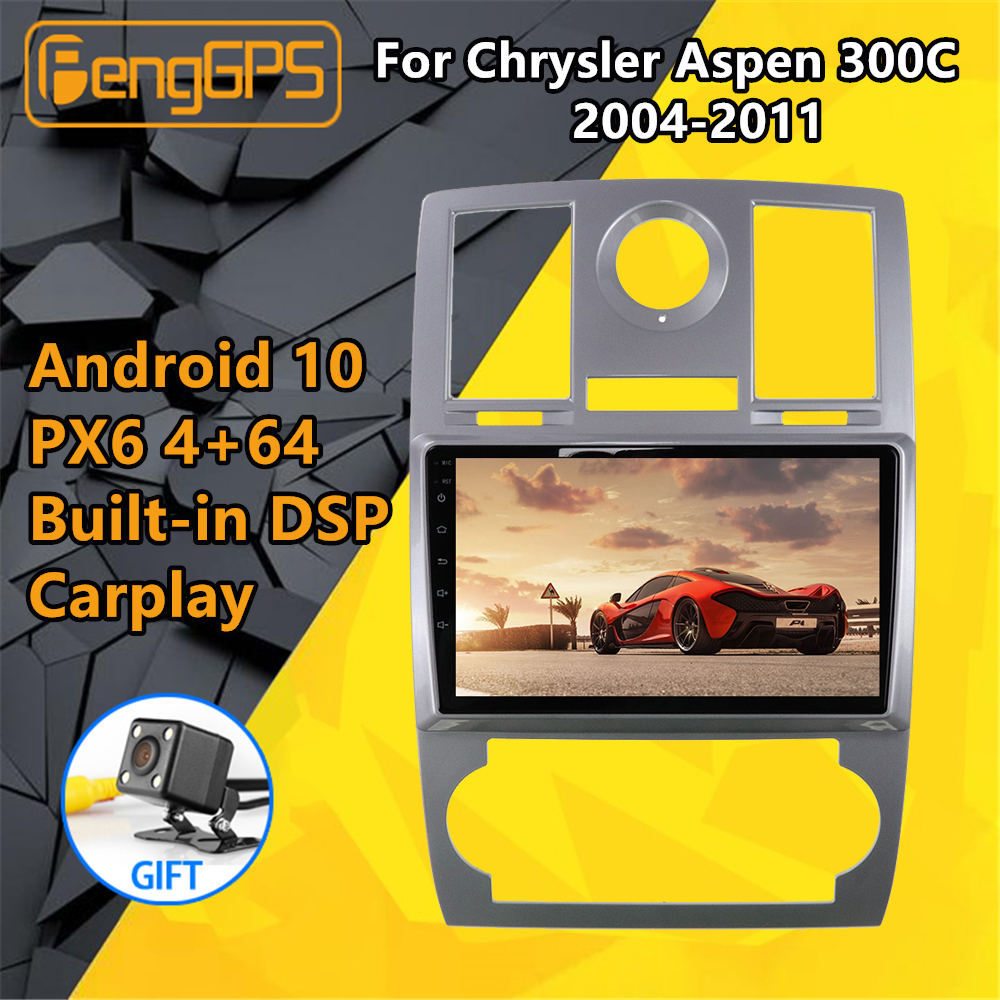 For Chrysler Aspen 300C 2004 2005 2006-2011 Car Multimedia Player Stereo IPS Screen Android PX6 Radio Audio GPS Nav Head Unit BT