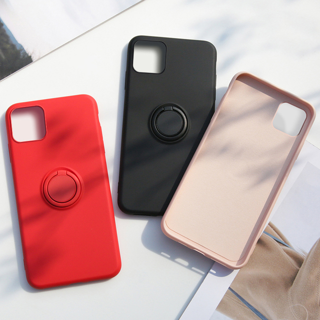 Luxury Soft Liquid Silicone Case For iPhone 11 Pro Max XS X XR 7 8 6 6S Plus SE 2020 Stand Ring Holder Cover iPhone11 iPhonex On 5