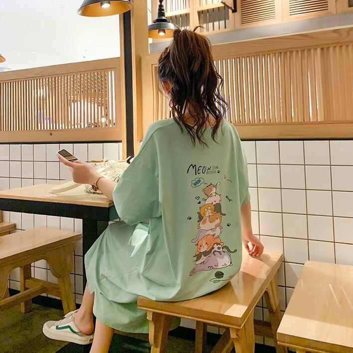 Summer Short-sleeved Nightgown Women's Light Green Eight Immortals Cat Skirt M -Xxl