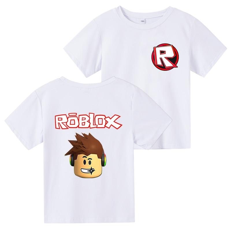 Новинка, Детская футболка с мультипликационным принтом Robloxing Game, детские летние белые топы, модная футболка в стиле Харадзюку для мальчиков ...