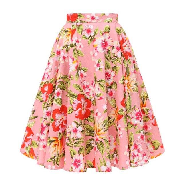 Autumn High Waist Skirts Cotton Womens Polka Dot Print Retro Vinatge Swing Pinup Skirt Rockabilly 50s Retro Vintage Jupe Femme 3