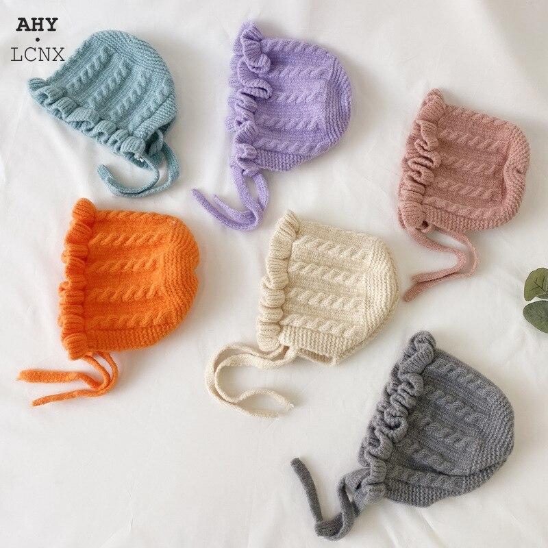Зимняя хлопковая вязаная шапка в Корейском стиле для малышей, теплая Осенняя детская шапка на шнуровке, милая шапка для девочек и мальчиков,...