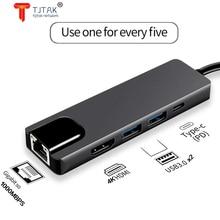Hub usb tipo c 5 em 1, hub hdmi 4k usb c para gigabit ethernet rj45 lan adaptador para mac book pro thunderbolt 3 USB-C, carrega
