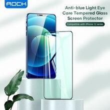 روك واقي شاشة من الزجاج المقوى ، فيلم تغطية كاملة ثلاثية الأبعاد لهاتف iPhone 12 Pro Max ، مضاد للضوء الأزرق