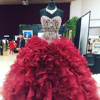 Burgundy Luxury Quinceanera Dresses Ball Gown Plus Size Crystal Beaded Masquerade 15 year old Sixteen Sweet 16 Prom Dress