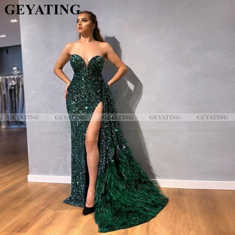 Sexy High Split Mermaid Emerald Green Prom Dresses With Feathers Detachable Train Glitter Sequin Long Women Formal Evening Gowns